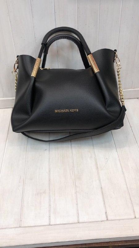 Женская сумочка в стиле Michael Kors черная с метталическими вставками