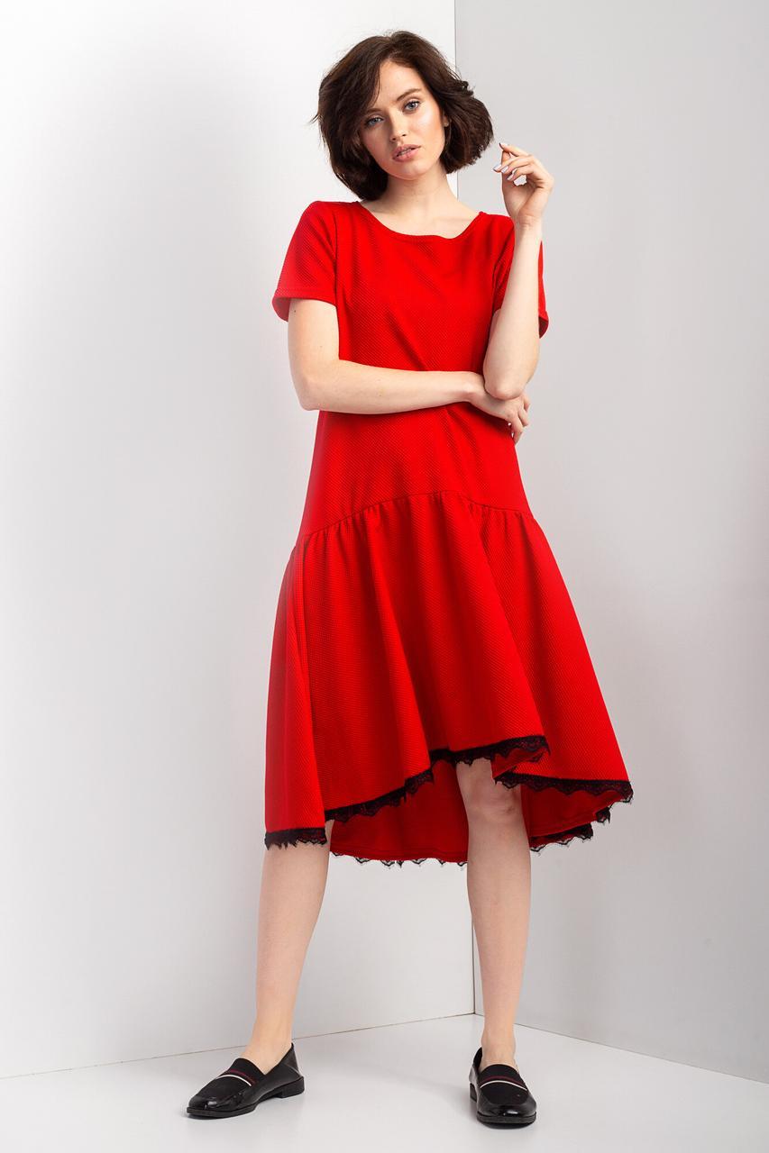 7615f25598b6ae0 Крассное платье AMALIA из трикотажа кукурузка с асимметричной юбкой и  кружевом - motus в Ивано-