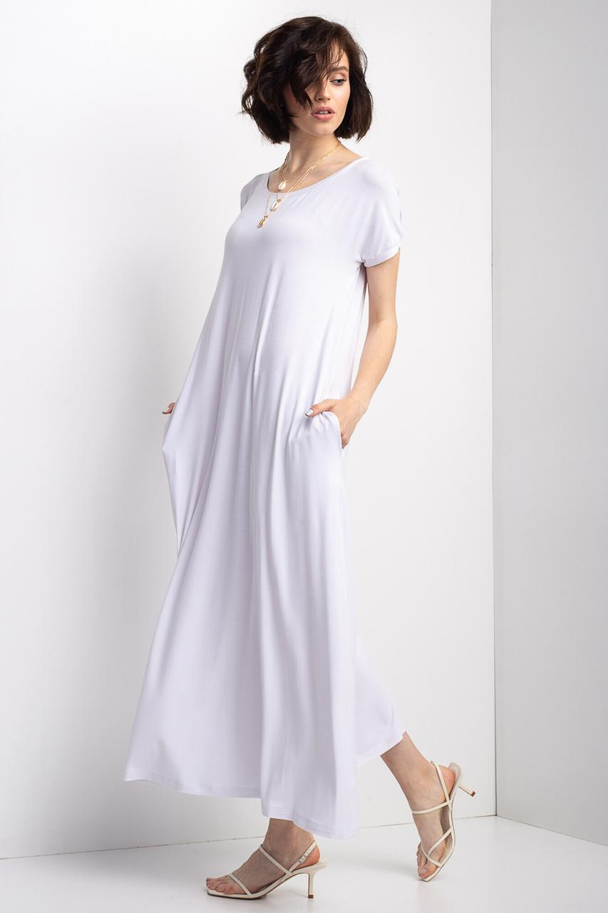 Белое платье LUIZE в пол А-силуэта с короткими рукавами и боковыми карманами