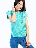 Стильная однотонная футболка из фактурной ткани, разные цвета: белый, минт, розовый, пудра