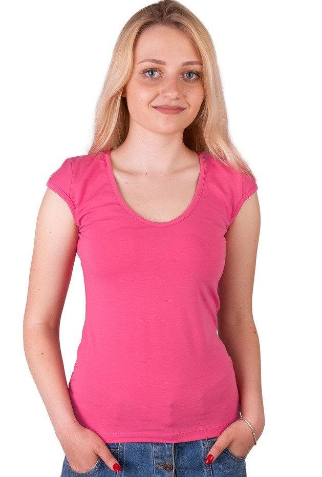 Розовая футболка женская без рисунка однотонная стрейчевая летняя