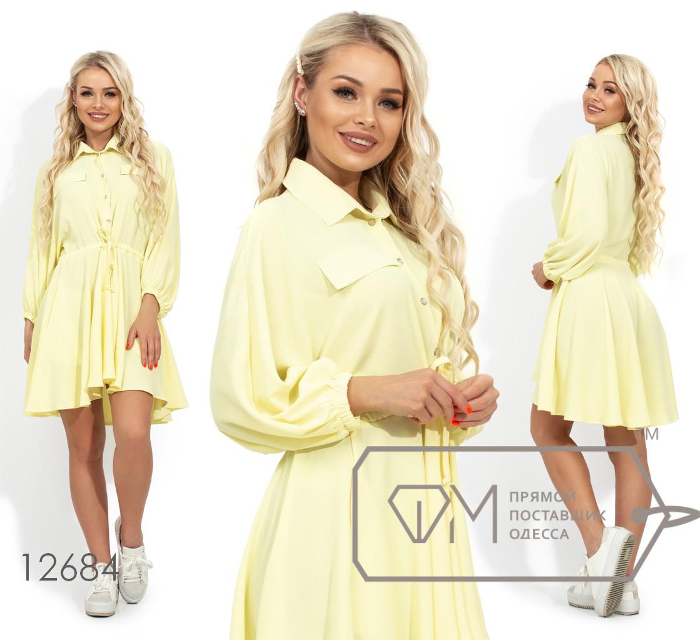 Короткое платье-рубашка, желтый