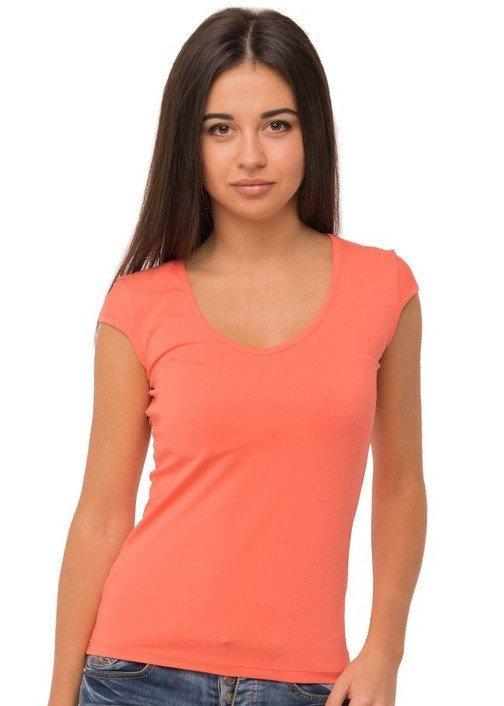 Коралловая футболка женская без рисунка однотонная стрейчевая летняя