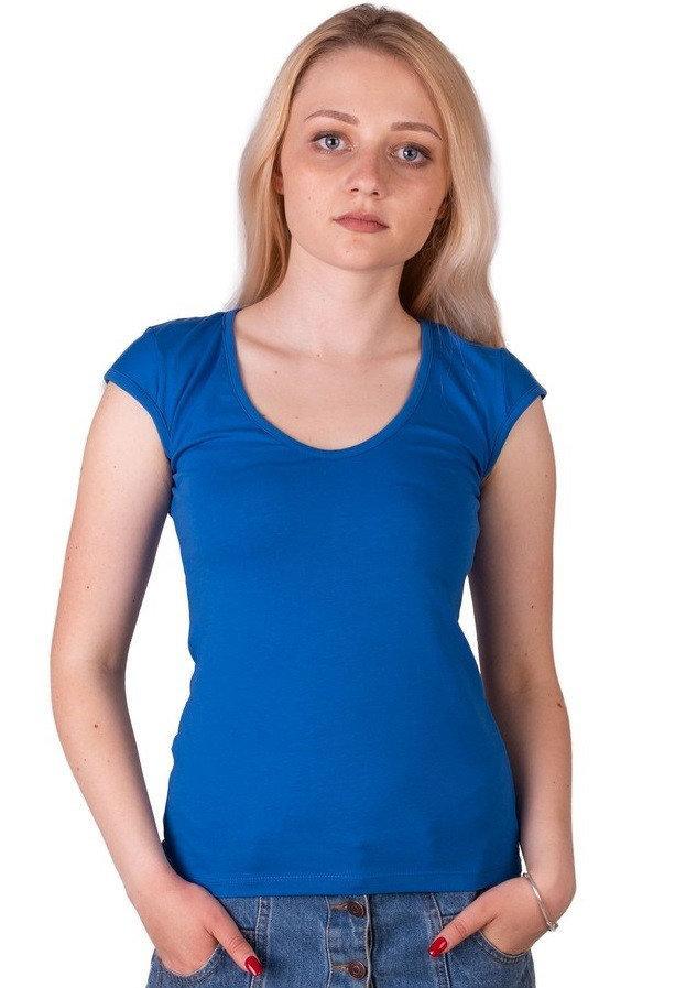 Синяя футболка женская без рисунка однотонная стрейчевая летняя