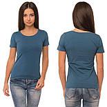Однотонная футболка женская хлопковая трикотажная без рисунка летняя, морская, фото 2