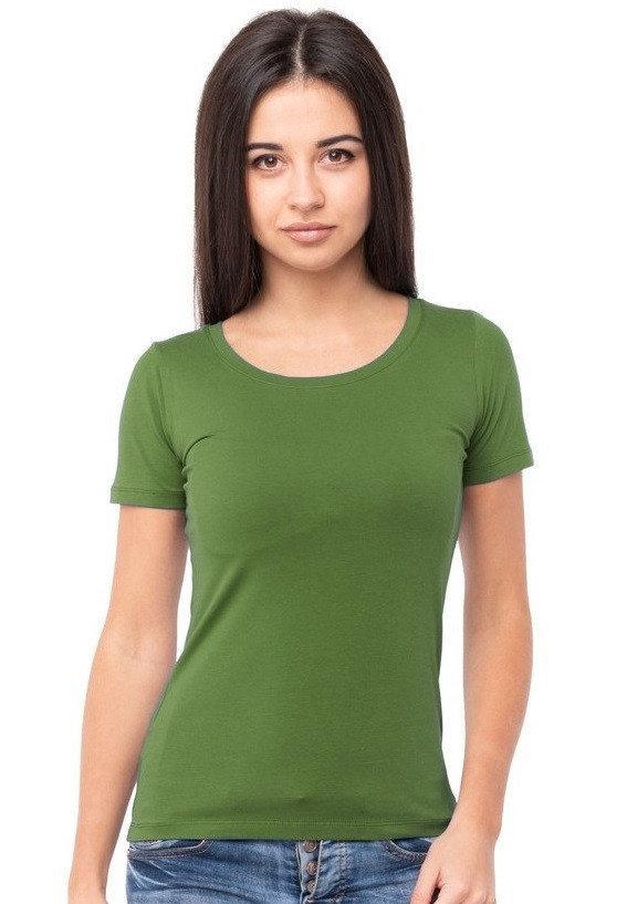 Однотонная футболка женская хлопковая трикотажная без рисунка летняя, оливковая