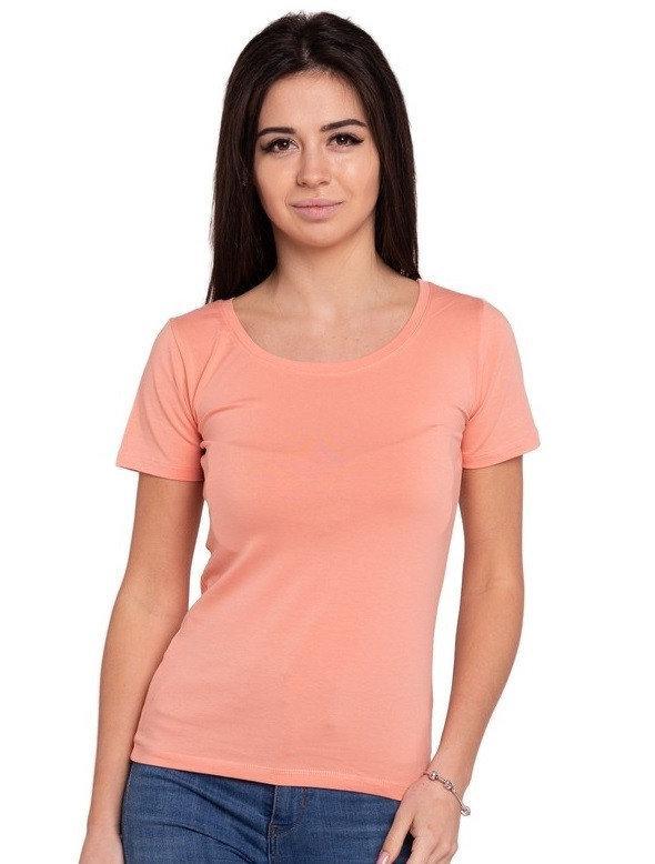 Однотонная футболка женская хлопковая трикотажная без рисунка летняя, персиковая