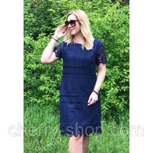 Синее платье женское из французского кружева