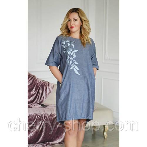 Легке жіноче літнє плаття з льону