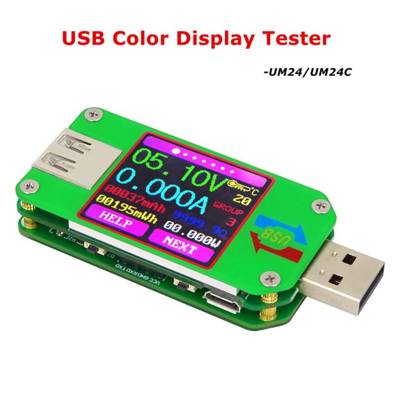 USB тестер RD um24c USB 2.0 Цветной дисплей 10 групп данных Индикатор bluetooth Поддержка QC2.0 и QC3.0 вольт