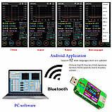 USB тестер RD um24c USB 2.0 Цветной дисплей 10 групп данных Индикатор bluetooth Поддержка QC2.0 и QC3.0 вольт, фото 7