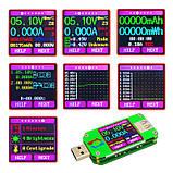 USB тестер RD um24c USB 2.0 Цветной дисплей 10 групп данных Индикатор bluetooth Поддержка QC2.0 и QC3.0 вольт, фото 8