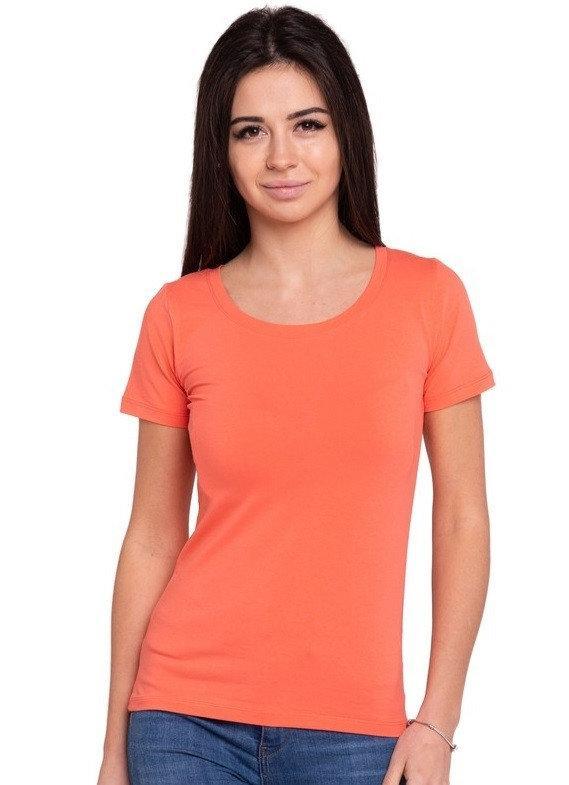 Однотонная футболка женская трикотажная без рисунка летняя, коралловая