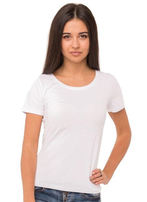 Базовая футболка женская однотонная хлопковая трикотажная без рисунка летняя, белая