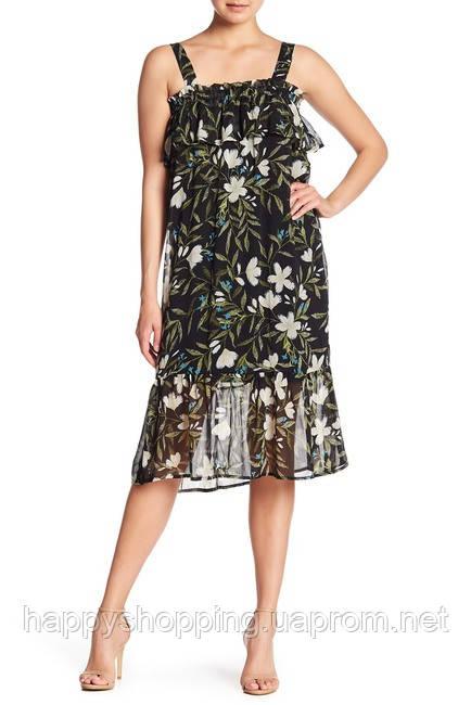 Женское стильное миди платье с цветочным принтом Bobeau
