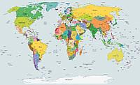 Фотообои карта мира 254х184 см (флизелин, бумага, винил) (2644.20263) Винил