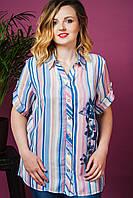 Женская летняя рубашка полоска Цветы. Размер 52-56