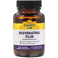 """Ресвератрол Country Life """"Resveratrol Plus"""" для сердечно-сосудистой системы, антивозрастной (60 капсул)"""