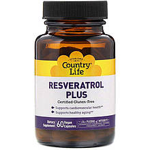 """Ресвератрол Country Life """"Resveratrol Plus"""" для сердечно-сосудистой системы (60 капсул)"""