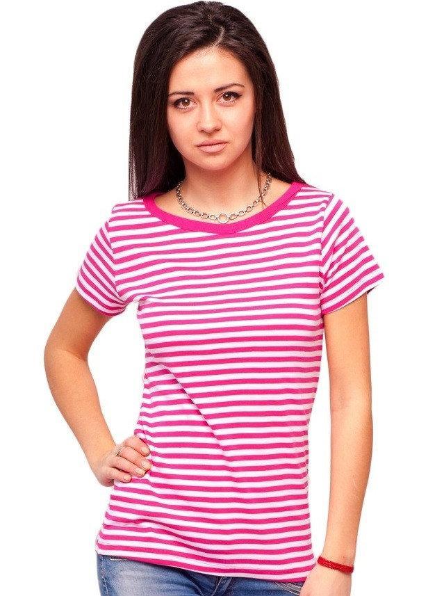Полосатая футболка женская летняя трикотажная хлопковая хб, розовый с белым