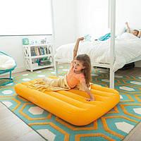 Детский надувной матрас INTEX 88x157x18 см (велюр), одноместный матрас ИНТЕКС для детей от 3 до 10 лет