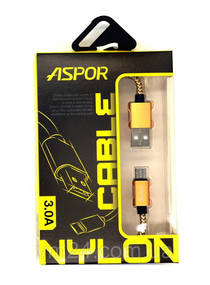 Кабель для зарядки и передачи данных  micro USB, золото  Кабель ASPOR A173