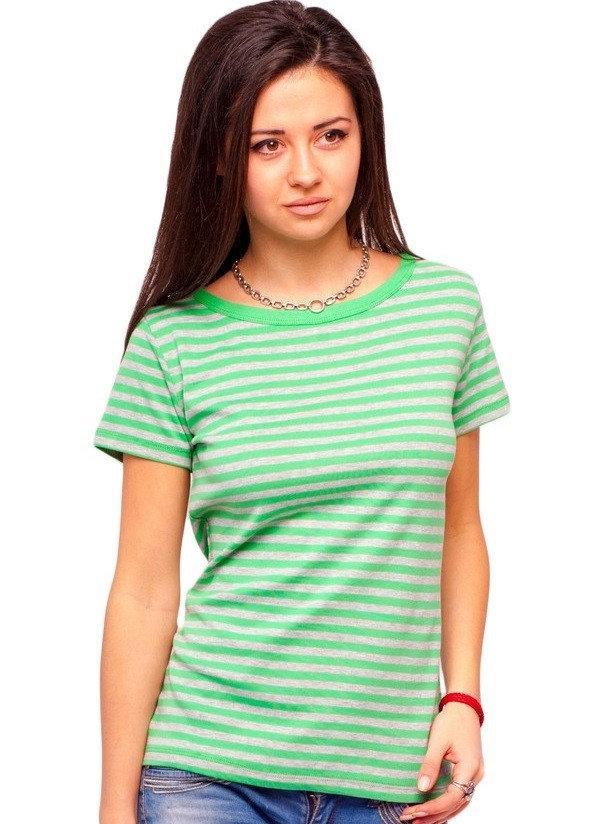 Футболка в полоску женская летняя трикотажная хлопковая хб, зеленый с серым