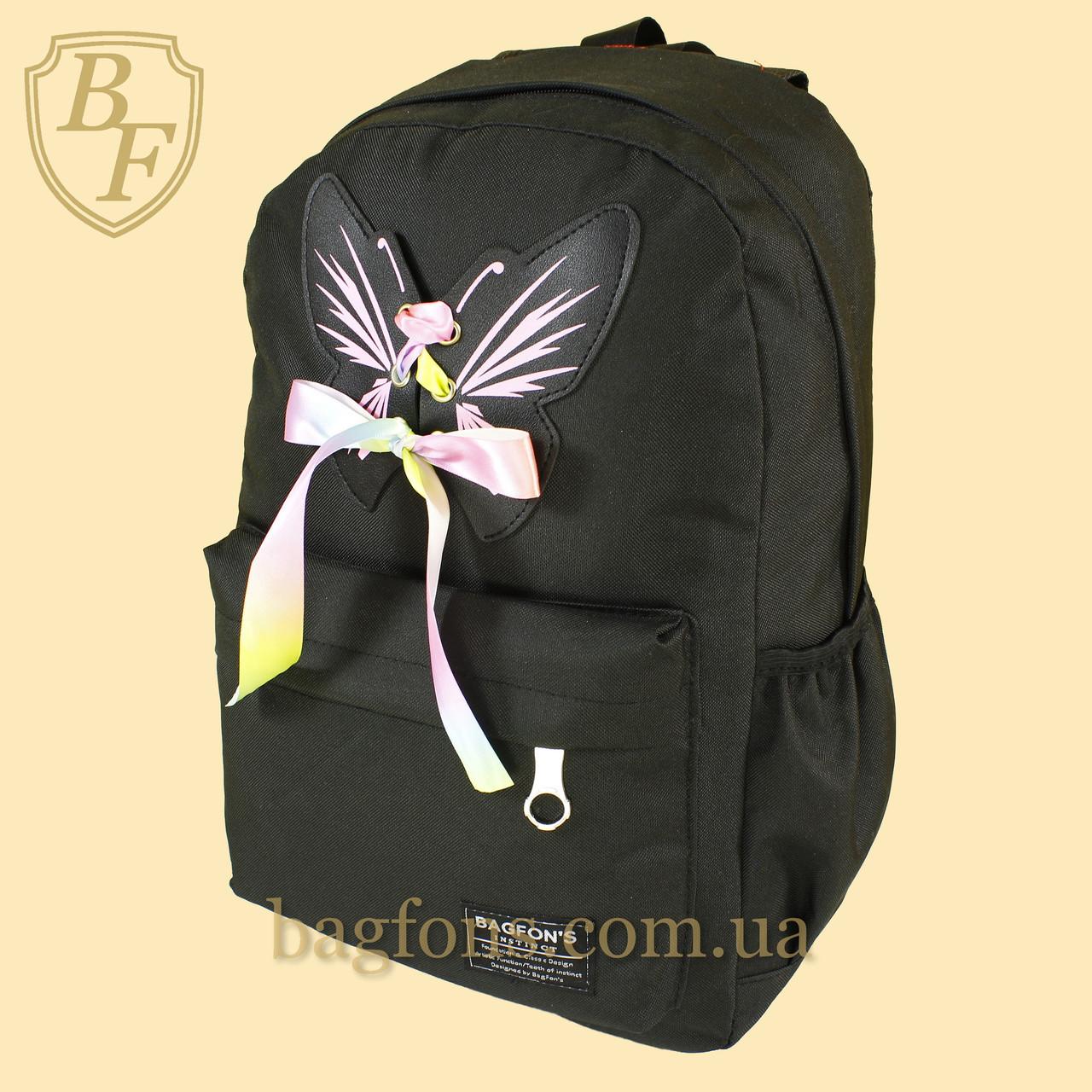 82705f3d516f Рюкзак городской школьный для девочки с бабочкой и лентой черный BagFon's  8013