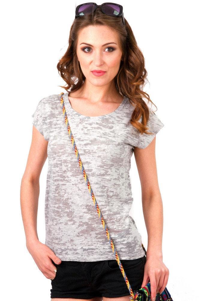 Тонкая футболка женская деворе летняя легкая с коротким рукавом, серая
