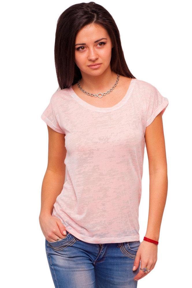 Тонкая футболка женская деворе летняя легкая с коротким рукавом, розовая