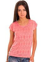 Тонкая футболка женская деворе летняя легкая с коротким рукавом, коралловая