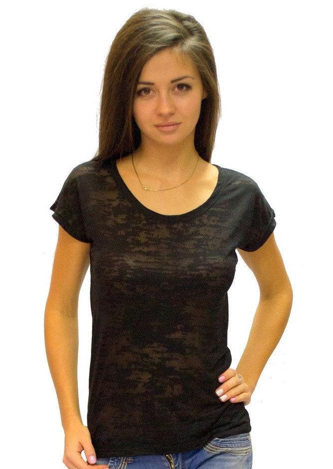 Тонка футболка жіноча деворе літня легка з коротким рукавом, чорна