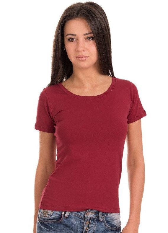 Однотонная футболка женская хлопковая трикотажная без рисунка летняя, бордовая