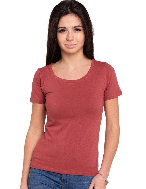 Базовая футболка женская однотонная хлопковая трикотажная без рисунка летняя, терракотовая
