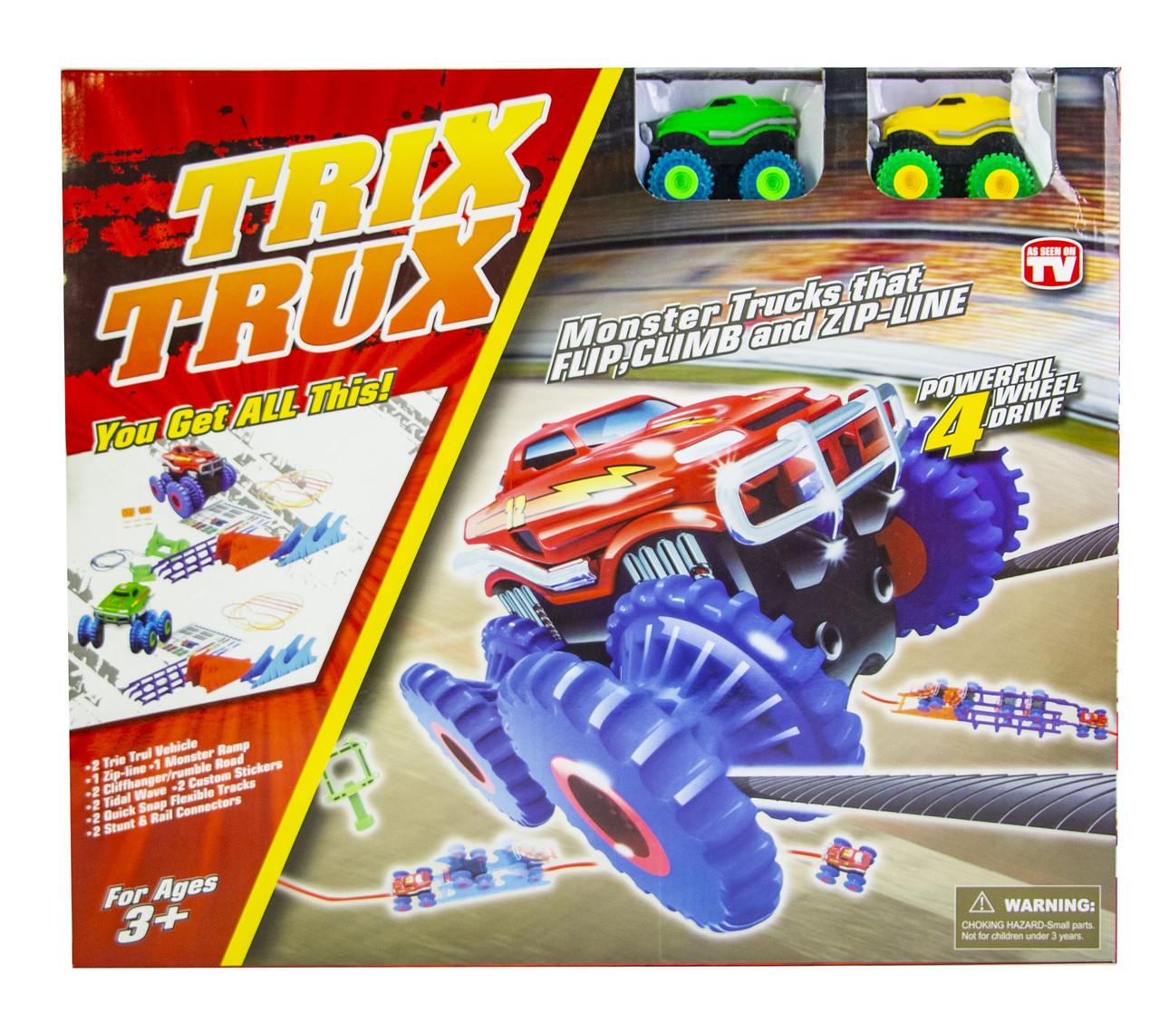 Игровой набор Trix Trux Monster Truk Канатный детский трек Монстер трак  (2 машинки в комплекте)