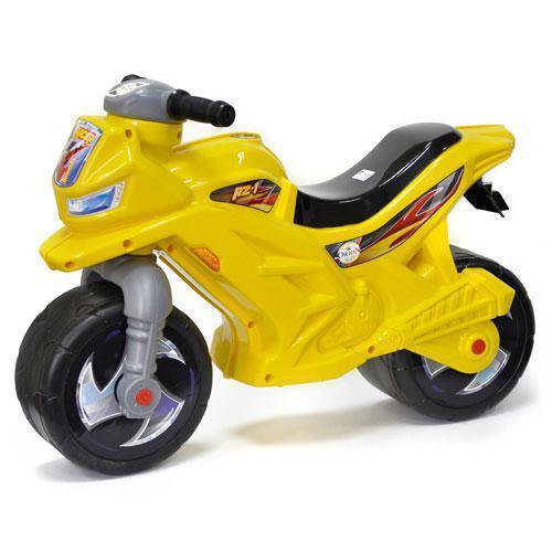 Каталка Мотоцикл беговел, двоколісний Жовтого кольору, Оріон, музичний