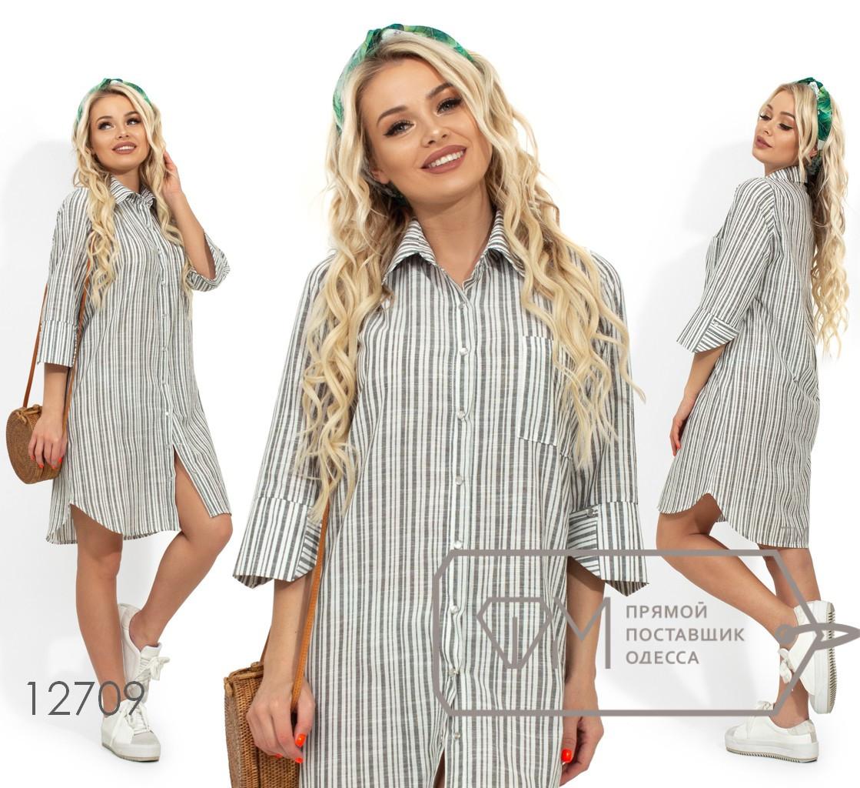 Коттоновое платье в полоску, оливковый