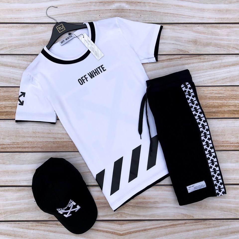 Мужской летний комплект Off-white (шорты,футболка,кепка), шорты off-white, футболка Off-white