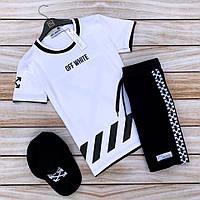 Мужской летний комплект Off-white (шорты,футболка,кепка), шорты off-white, футболка Off-white, фото 1