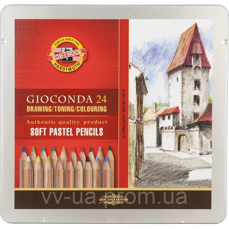 Карандаши пастельные Koh-i-Noor GIOCONDA 8827, 24 цв., мет.уп. (8828024001PL)