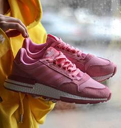Женские кроссовки Adidas ZX 500 Pink розовые. Живое фото (Реплика ААА+)