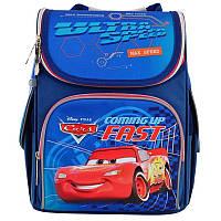 Рюкзак школьный каркасный ортопедический 1 Вересня H-11 Cars, для мальчиков, голубой (556154)