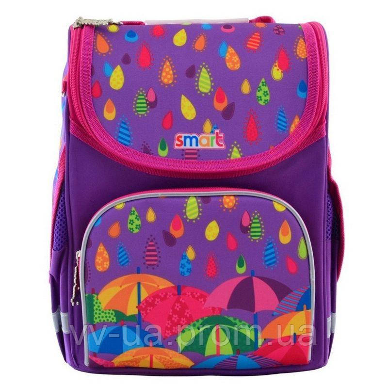 Рюкзак школьный каркасный ортопедический Smart PG-11 Kapitoshka, для девочек, синий (555898)