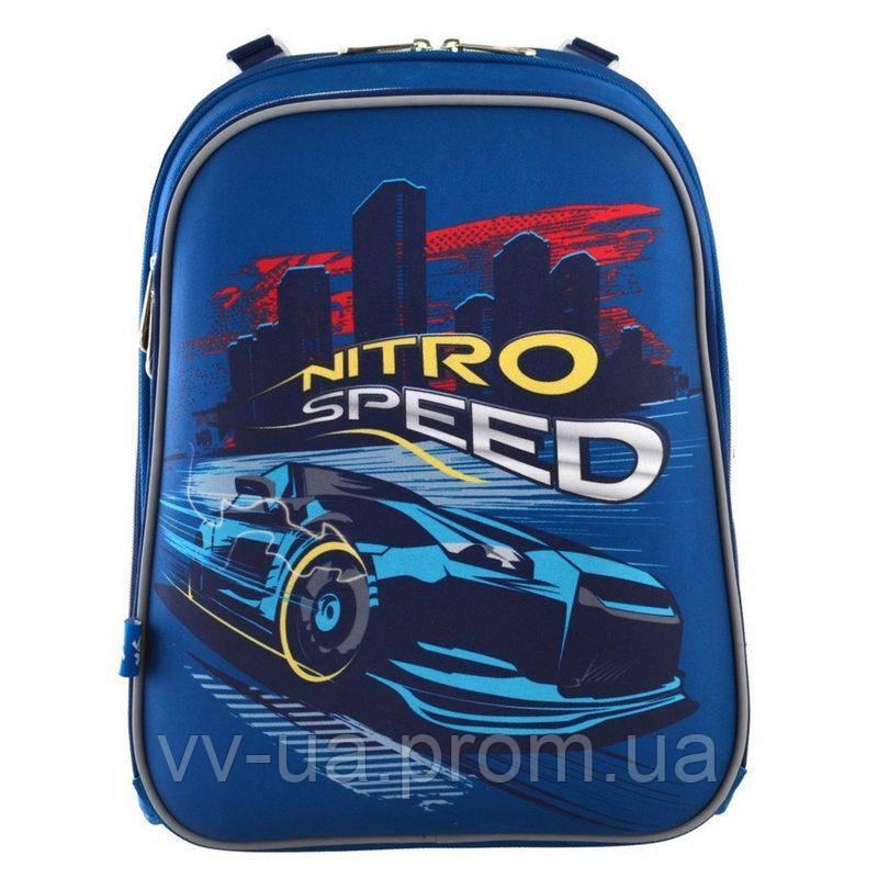 Рюкзак для школы каркасный ортопедический Yes H-12 Nitro Speed, для мальчиков, синий (555958)