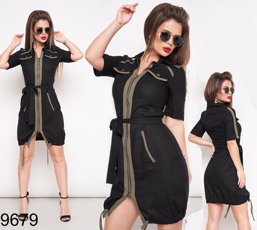 Летнее женское приталенное платье на змейке (черный) 829679