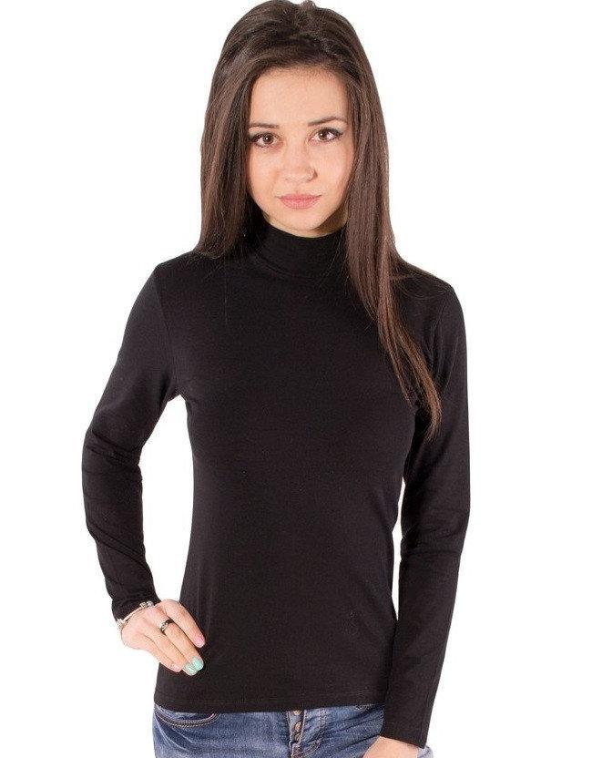 Базовый гольф женский с длинным рукавом однотонный трикотажный стрейчевый хлопок, черный