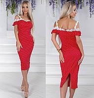 Красное платье в горошек на лето 2019, фото 1