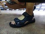 Тёмно-синие кожаные комфортные сандалии на липучках Detta, фото 5