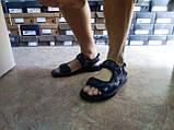 Тёмно-синие кожаные комфортные сандалии на липучках Detta, фото 7