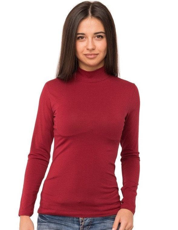 Водолазка женская с длинным рукавом без рисунка трикотажная однотонная стрейчевая, бордовая